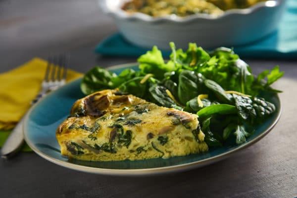 Crustless Spinach Quiche with Spinach Arugula Salad