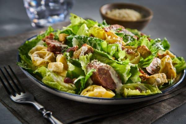 Grilled Italian Sausage, Bacon and Tortellini Caesar Salad