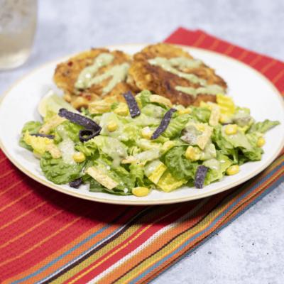 Avocado Caesar Salad with Corn Fritters