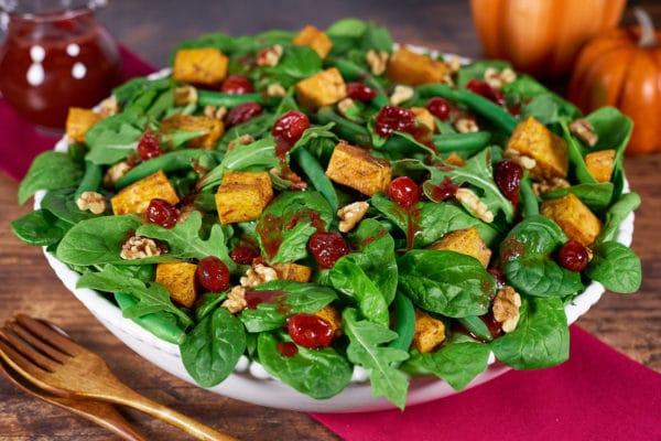 Cranberry Sweet Potato Spinach Salad
