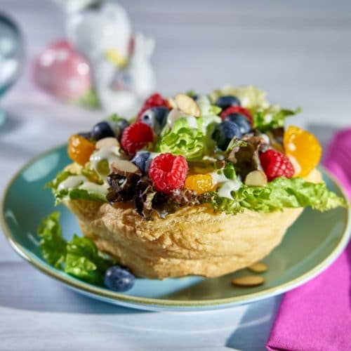 Fruit & Butter Lettuce Salad in Puff Pastry Bowl