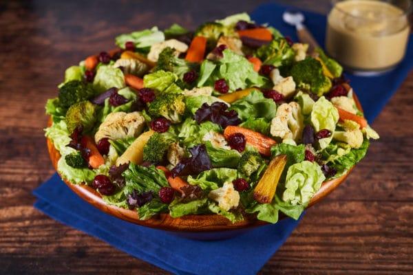 Roasted Vegetable Salad with Pumpkin Goddess Dressing