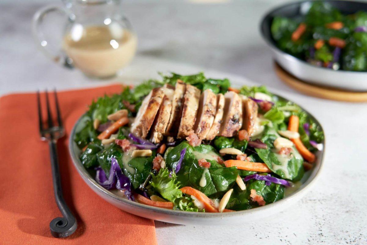Grilled Chicken with Warm Spinach Salad