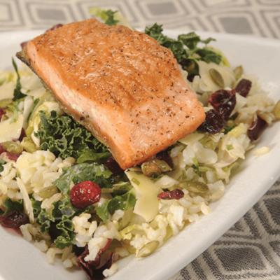 Pan-Seared Salmon & Sweet Kale Grain Salad